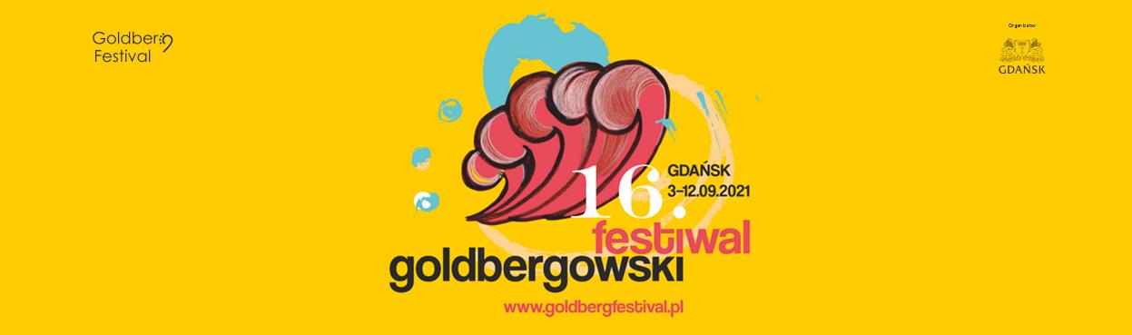 grafika przedstawia fragment plakatu 16. Festiwal Goldbergowski , żółte tło